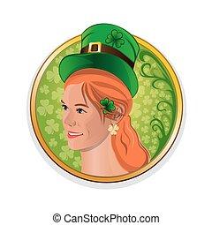 Beautiful, cute irish girl for Saint Patricks Day. Pretty red-haired girl in a green leprechaun hat