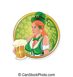 Beautiful, cute Irish girl with a beer glass in hand. Round vector stickers for Irish pub