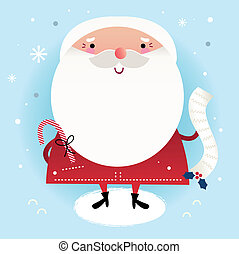 Beautiful cute Santa with delivery note on winter background