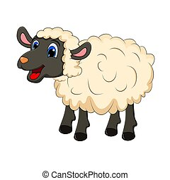 Beautiful cute sheep isolated on white background. design for child card, t-shirt. Sheep animal concept