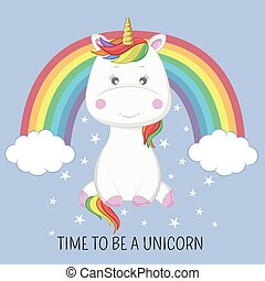 Beautiful cute unicorn sitting on the blue background with a rainbow.
