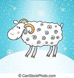 Beautiful cute vector sheep, symbol of the new year -...