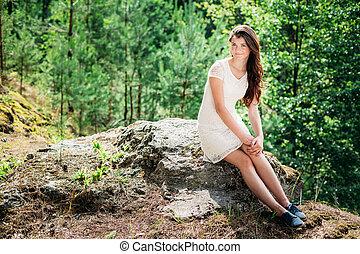 Beautiful Cute Young Smiling Woman Girl In White Dress Sitting O