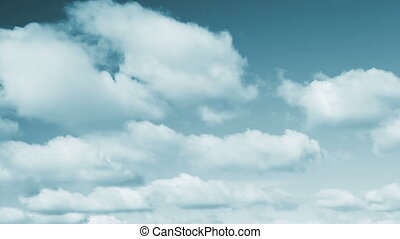 Beautiful Cyan Tone Sky and Clouds Loop - Fluffy clouds move...