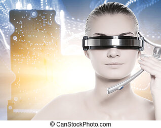 Beautiful cyber woman over abstract background