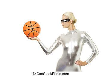 Beautiful cyber woman playing basketball