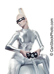 Beautiful cyber woman playing video game