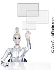 Beautiful cyber woman pointing at something