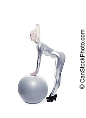Beautiful cyber woman standing with a silver ball