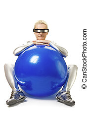 Beautiful cyber woman with a fitness ball