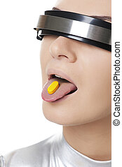 Beautiful cyber woman with a pill