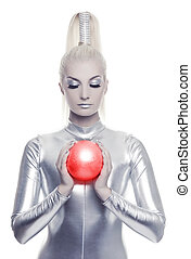 Beautiful cyber woman with red ball