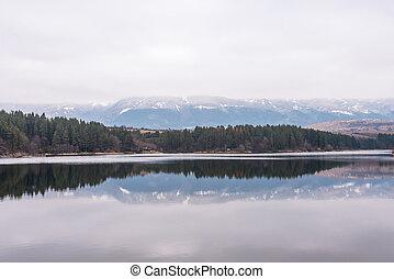 Beautiful dam in Bulgaria in winter.