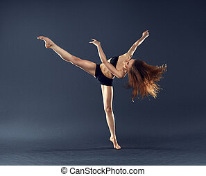 beautiful dancer with flowing hair dancing dance ballet contemporary style