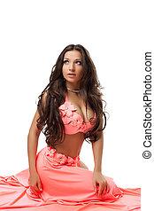 Beautiful dancer with long hair