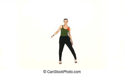 Beautiful dancer woman go on dancing social latino dance...