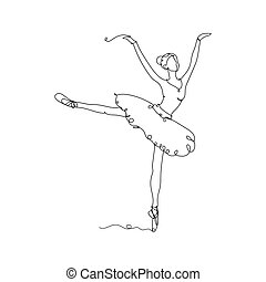 Beautiful dancing woman. Pretty ballerina icon one line drawing, in continuous line drawing style vector illustration on white background.