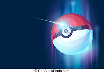 Beautiful dark abstract background with a game ball - pokeball. Vector illustration