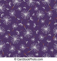 Beautiful nature background seamless pattern dark blue with white flower dandelion fluff. Floral seamless pattern with summer or spring flowers. Stylish romantic trendy wallpaper. Vector illustration