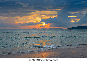 beautiful dark sunset sky over the sea surface in Thailand