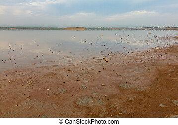 Beautiful dawn colors at Larnaca Salt Lake, island of Cyprus