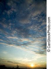beautiful dawn sun in the sky