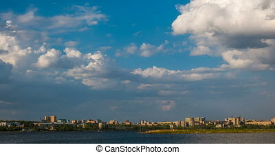 Beautiful daytime timelapse of clouds over the winter landscape, city of Izhevsk, the Udmurt Republic, Russian Federation