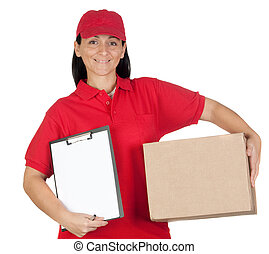Beautiful dealer with box and clipboard isolated over white ...