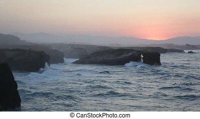Beautiful decline on Playa de las Catedrales during inflow,...