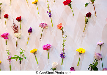 Beautiful decor of flowers for the wedding photo shoot