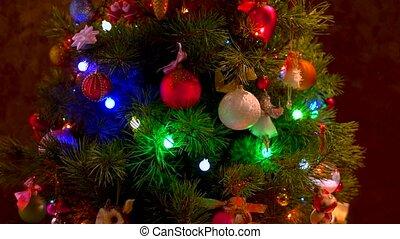 Beautiful decor of New Year tree. Christmas pine tree with...