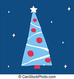 Beautiful decorated Christmas tree with garlands and balls on a classic blue background with snowflakes. Vector illustration, in scandinavian doodle style, square format. Suitable for a greeting card or banner