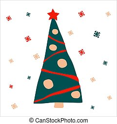 Beautiful decorated Christmas tree with garlands and balls on a white background with snowflakes. Vector illustration, in scandinavian hand drawn style, square format. Suitable for a greeting card or banner