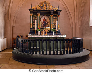 Beautiful decorated church altar ready for Christmas