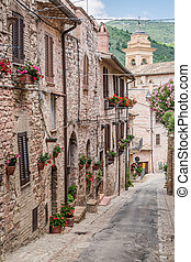 Beautiful decorated porch in small town in Italy in summer, Umbria