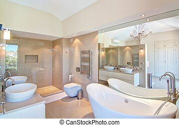 Beautiful decorative bathroom. In the warm colors.