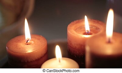 Beautiful decorative candles burn