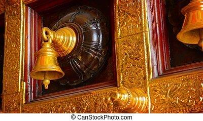 Beautiful, Decorative, Ceremonial Bells in a Hindu Temple -...