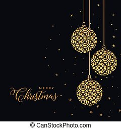 beautiful decorative christmas golden balls on black background