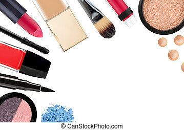 Beautiful decorative cosmetics and makeup brushes, isolated ...