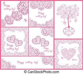 Beautiful decorative design and greeting cards for wedding invitations