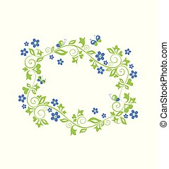 Beautiful decorative floral green frame with blue periwinkle. Flat design