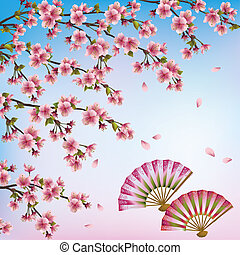 Beautiful decorative Japanese background with sakura blossom - Japanese cherry tree and two open fans. Vector illustration