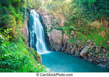 Beautiful deep forest waterfall at Haew narok waterfall, khao yai national park, Thailand