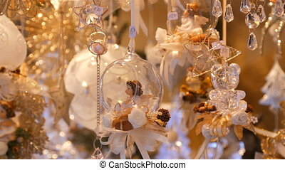 Beautiful delicate subtle Christmas toy decorations made of...
