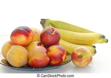 peaches, bananas