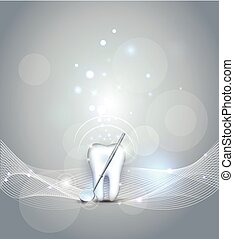 Beautiful dental background, healthy tooth and mirror
