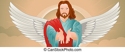 Jesus Christ with Wings Portrait