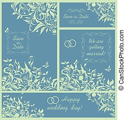 Beautiful design for wedding invitation with mint color floral pattern