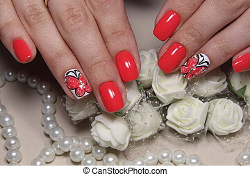 Beautiful design of manicure with a pattern